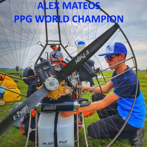 Alex Mateos ppg world champion with eprops carbon propeller paramotor paratrike powered paragliding ppg